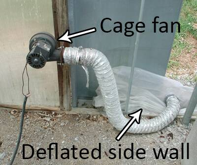 Photo of a cage fan and deflated side wall.