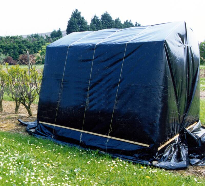 Photo of a black-out tent.